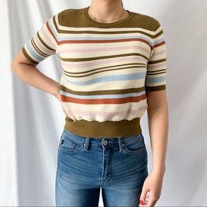 Bohme Knit Striped Colorful Cropped Shirt Top Sz S